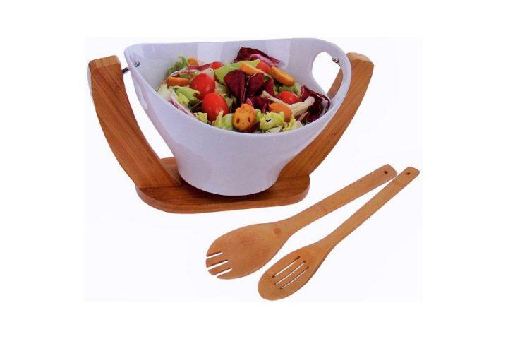 Designer Salatschüssel aus Porzellan mit Bambus Halter und Servierbesteck