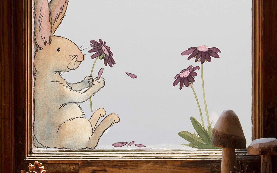 Fensterbild Hase und Blume
