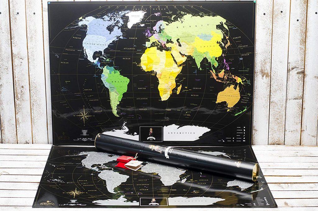 Schwarze Rubbel Weltkarte